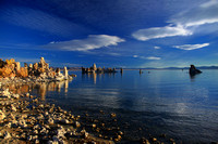 Clouds float over the tufa formations at Mono Lake