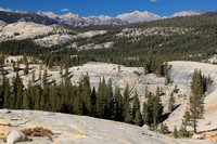 View of the High Sierras from Pothole Dome, west Tuolumne Meadows.