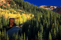Fall color and mining tower, Red Mountain
