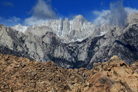 Mt Whitney appears when clouds part